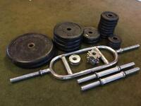 Set of weights including dumbbell and tricep bars