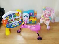 Baby toys bundle Fisher price 1st doll pram Walker, bright starts activity station & more