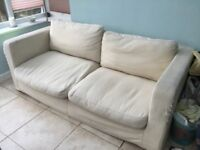 Comfortable cream sofa, washable removeable covers. Good condition, some cat scratches on arm fronts
