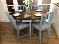 Vintage table and 4 chairs free delivery Ldn shabby chic grey