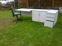 Office desk,filing cabinet,cupboard and chair