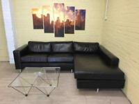 Clean Brown Leather Corner Sofa