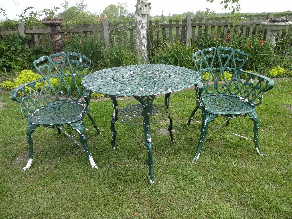 CAST IRON GARDEN / PATIO SET - TABLE AND 2 CHAIRS - | in ...