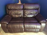 2 Seater Leather Recliner Sofa, Leather Recliner Armchair & Leather Storage Footstool