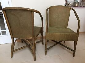 A pair wicker vintage / retro loom basketweave style chairs gold CHARITY SALE