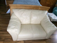 2 seater sofa in cream leather or leather look