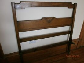 Vintage bed frame (wooden) with fittings