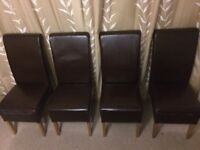 4 x Brown Faux Leather dining chairs - ideal extra chairs for Christmas - £65
