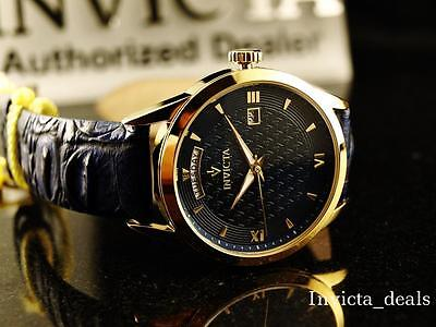 Invicta Men's 40mm Vintage Swiss Parts Quartz Navy Blue Dial Leather Strap Watch