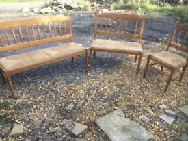 Beautiful oak framed corner sofa with rush seating