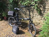 Volt Metro Folding Electric Bike. July 2016. Black, Immaculate, c/w pannier saddle bag & carry case
