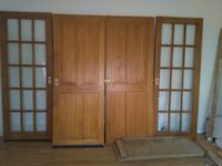 Free, 3 four panel pine doors and 2 fifteen pane glass doors, 760mm x 1980mm