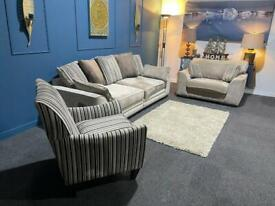 Stunning SCS mink cream and brown velvet suite 4 seater sofa, cuddle chair and armchair