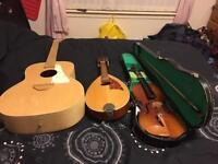 Violin, mandolin & guitar