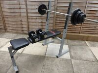 York Cast Iron Weight set 72kg + heavy duty bench and bars