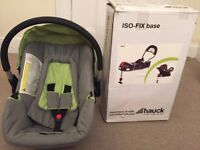For sale: Hauck Group 0+ car seat + isofix base.