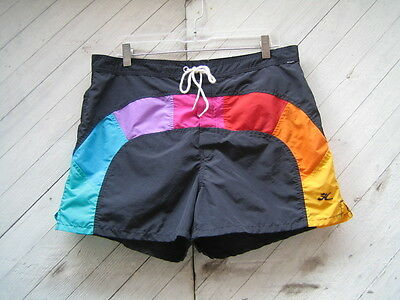 "Vintage 80s HOBIE Swim Trunks Shorts Rainbow Colors M 35"" Waist"