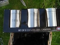 New stainless steel coffee, tea and sugar container set