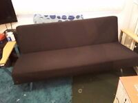 Black settee with chrome legs ans chrome armrests