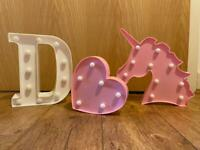 Shaped lamps/ lights, heart, unicorn, letter D
