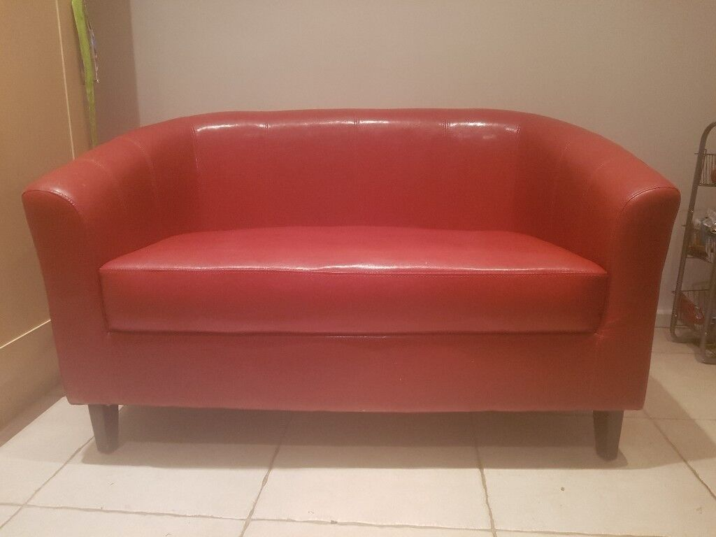 2 seater faux red leather settee
