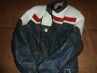 Vintage wolf leather motor bike jacket
