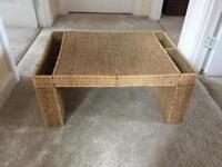 Wicker bed table