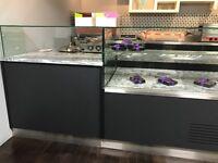 "Serve over coffee shop display fridge ""Custom made"""