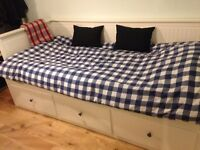 HEMNES Day-bed(sofa, single bed, double bed and storage solution) with 2 mattresses