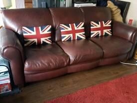 2 x Dark Brown Leather Settees