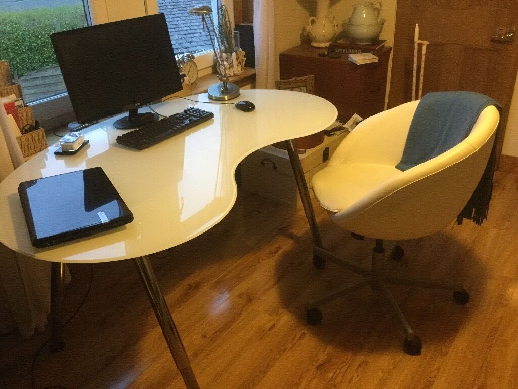 Ikea Kidney Shaped White Glass Home Office Desk