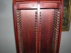 cd holder with roll top doors mahogany wood heave.