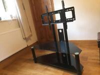 Black glass tv corner stand and brackets