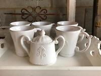 Set of 5 mugs and sugar bowl