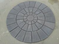 Stone Concrete Circle Patio Paving Set 3.0 Meters Charcoal Looks Really Great.