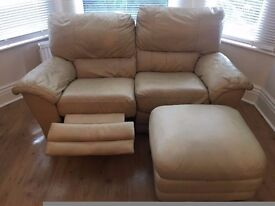 Cream Leather Recliner Sofa Plus Footrest