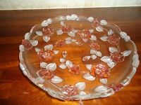 "Round glass dish, with pink flower detail 13"" diameter/33.5 cm"