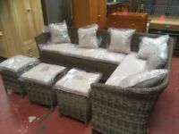 Rattan Effect 8 Seater Corner Sofa, and Stools
