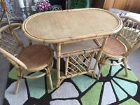 Cane table and 2 chairs, cane bicycle plant stand and coat stand