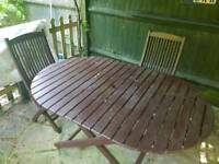 Garden wooden table & four chairs