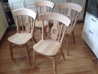 Dining Chairs set of 4 solid beech wood, high quality have bulls eye detail excellent condition