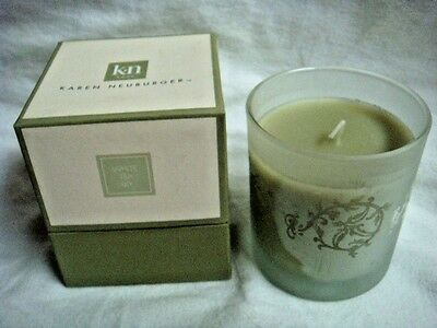 NIB 50 Hour FROSTED GLASS JAR CANDLE by KAREN NEUBURGER $20 - Lovely Fresh Scent
