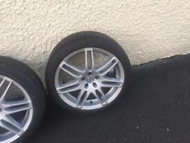 Two sets 18in alloys new tyres