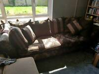Large 4 seater and 2 seater with footstool