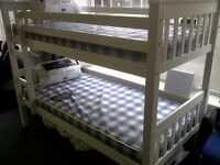 *****BUNK-BED*****SOLID WHITE BUNK*****GREAT VALUE 229.oo INCLUDING TWO FREE MATTRESSES