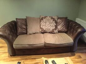 2 Sofas, 1 large 3 seater plus a 2 seater, browns 4 yrs old.