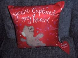 CUSHION RED WITH BEAR YOUVE CAPTURED MY HEART BNWT APPROX 30CM X30CM.