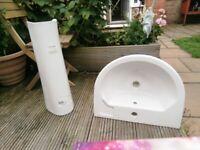White bathroom sink/ basin and pedestal Twyford