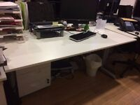 WHITE ADJUSTABLE OFFICE DESKS WITH FRAME - 7 AVAILABE