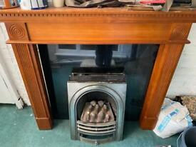 Granite gas fireplace with surround